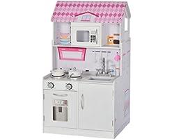 homcom 2 in 1 Cucina Giocattolo Casa delle Bambole in Legno per Bambini da 3 Anni, Realistica con 12 Accessori, Rosa