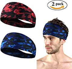 Jisen Unisex Headband/Sweatband 2 Pieces-Breathable, Cool, Moisture-Wicking Stretch-Best for Sports, Fitness, Working Out, Yoga,Running, Crossfit
