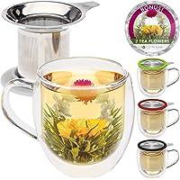 Teabloom Tazza in Vetro a Doppia Parete con Infusore & Coperchio + 2 Deliziosi Fiori di tè - Tazza da 450 ml - Coperchio…