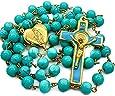 Perle in vetro turchese San Benedetto Rosario Perle San San Giorgio Croce medaglia cattolica