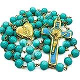 Nazareth Store Perle in Vetro Turchese San Benedetto Rosario Perle San San Giorgio Croce medaglia cattolica