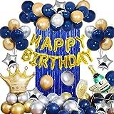 MMTX Feste di Compleanno con Blu Argento Oro Palloncini per Uomini Donne Adulti,Happy Birthday bandiera Corona Champagne Tazz