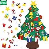 EKKONG Feltro Albero Natale con Ornamenti 30 Pz DIY Staccabile Decorazione da Parete per Bambini Decorazione di Natale