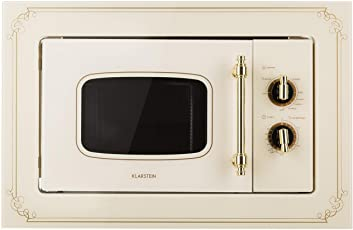 Klarstein Victoria 20 Einbau-Mikrowelle • Retro • 20 L • 800 W Mikrowellen-/1000 W Grillleistung • 3 Kombi-Funktionen • Edelstahl • inkl. Einbaurahmen • elfenbein
