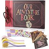YIHAO Album Scrapbook, our Adventure Book DIY Handmade Photo Album Family Scrapbook, Anniversary , Vintage Travel Child's Pho