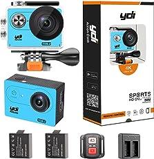 YDI H9R Unterwasserkamera 4K Action Kamera Wasserdicht WIFI 12MP Full HD Sport Cam Helmkamera mit Fernbedienung, 2 Batterien für Radfahren Schwimmen Klettern Tauchen (Blau)