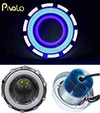 Pivalo Projector Lamp High Intensity LED Headlight Stylish Dual Ring COB Inside Double Angel's Eye Ring Lens Projector For - All Bikes (White & Blue)
