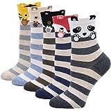 ZFSOCK Calcetines de Mujer Divertidos de Algodón, Patrón de Dibujos Animados Lindo Animal Perro Gato, 5 pares, Tamaño 36-42