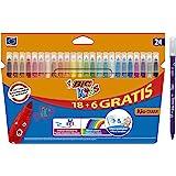 BIC Kids Kid Couleur rotuladores punta media - Colores surtidos, Caja de 18+6 – paquete de rotuladores lavables para niños, 2