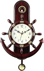 Mishty Pendulam Analog Wall Clock for Home Latest Design for Living Room Decorative Wall Clock 13X13 Inch (Brown)