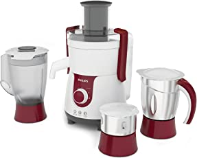 Philips Viva HL7715 700-Watt Juicer Mixer Grinder with 3 Jars (Pistil Red/White)
