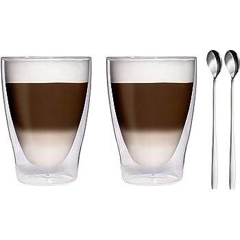 2x 280ml xl doppelwandige thermogl ser 2x edelstahl l ffel 18 10 latte macchiato gl ser. Black Bedroom Furniture Sets. Home Design Ideas