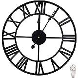 Outpicker 40 cm väggklocka europeisk klocka med romerska siffror tyst batteridriven metallklocka för vardagsrum kafé hotell k