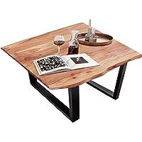 SAM Esszimmertisch 80x80 cm Quinn, echte Baumkante, naturfarben, massiver Esstisch aus Akazienholz, Metallbeine Schwarz…
