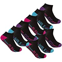 Ladies Ankle Socks (6, 9 & 18 Pairs) Cotton Rich Sports Trainer Liner - Size 4-8
