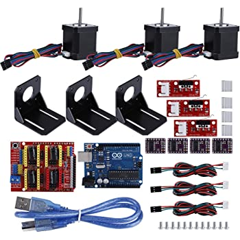 Eboxer Kit CNC per stampante 3D professionale per Arduino, Kuman UNO R3 con interruttore meccanico, Driver motore passo-passo DRV8825, Raffreddatore in alluminio + Motore passo-passo NEMA 17