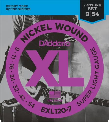 D'Addario EXL120-7 Satz 7-Saiter E-Gitarre 009' - 054'