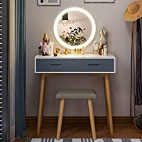 Tiptiper Schminktisch mit 3 Farb Beleuchtungsmodi | Frisiertisch mit Spiegel, Hocker, 3 Schubladen | Moderner…