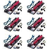 6 x PCI-E Riser 009S, APKLVSR 16X Extender PCIE Riser 6-Pin USB 3.0 kabel grafische kaart verlengkabel GPU Riser Adapter voor