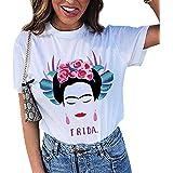 Camiseta de Manga Corta de Verano Artista Frida Kahlo para Mujer Personalizada