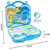 RAYFIN Doctor Plastic Play Set KIT with Fold-able Suitcase, Compact Medical Accessories Toy Set Pretend Play Kids (Blue)