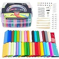 Vindany 36 Couleurs Pâte Polymère Pâte à Modeler Argile Bricolage Douce Non Toxique Cuire Clay Kit avec Outils et boîte…