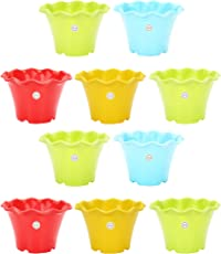 Gardening Flowering Pot 3-inch unique style round cut and colourful (pack of 10 coloured pots) by Kraft Seeds (colour may vary)