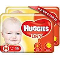 Huggies New Dry, Tapped Diapers, Medium Size Combo Pack of 2, 60 Counts Per Pack, 120 Counts
