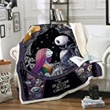 Soft Warm Kids Adults Fleece Throw Blanket,Nightmare Before Christmas Throw Blanket for Couple,Skull Bedding for Bed Couch,10