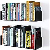 SKAFA Floating Wall Mount Metal U Shape Shelf Book CD DVD Storage Display Bookcase Bookshelf Black Set of 2
