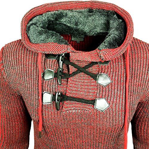 Herren Pullover Strick Rollkragen Grobstrick Winter Herbst 13306 Anthrazit