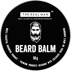 THE REAL MAN All New Beard Balm Leave-in Conditioner - All Natural Almond Oil | Jojoba Oil | Olive Oil | Sunflower Oil | Fragrances with Bees Wax |Shea Butter | Coco Butter. 100% Organic.