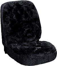WOLTU AS7334sz Universal Lammfellbezug Auto Sitzbezug 100% Echtlammfell Vollbezug Vordersitzbezug, Feste Wolle, ca, 1,8 cm Dicke, Schwarz