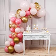 PartyWoo Gold and Pink Balloons, 44 pcs Light Pink Balloons, Gold Metallic Balloons, Fushia Balloons and Gold Confetti Balloo