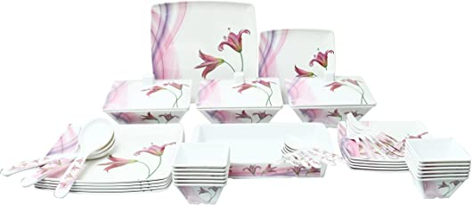 "Fortuneware""Bataniya"" Melamine Dinner Set of of 46 Pieces, Square Shaped, Standard Size, Unbreakable with Everlasting Shiny Print. (Floral 1)"