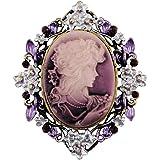 Cammeo sticks jewelry classico, stile vintage e retrò, spilla di bellezza con testa di regina