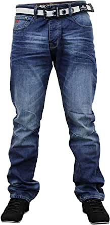 Mens Denim Jeans Ringspun Bottoms Trousers Pants FREE BELT Straight Leg Designer