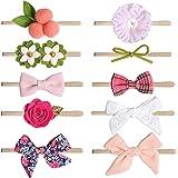 COUXILY bebé-niñas diademas de algodón suave arco anudada Hairband Headwrap Elastic Bow Turbante aros de pelo para niños bebé