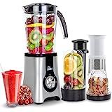Uten Blender Smoothie 1.25L, Mini Blender, Mixeur Blender pour Milk-Shake, Jus de Fruits et Légumes, Blender Portable pour Sp
