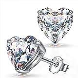FANCI Orecchini da donna, forma di cuore, regali per lei, argento sterling 925, zirconi da Swarovski, regali di anniversario