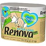 Renova Rollos De Cocina 100% Recycled - 2 Rollos Extra Grandes, 100% Reciclados & Envueltos en Papel Sin Plásticos = 5 Rollos