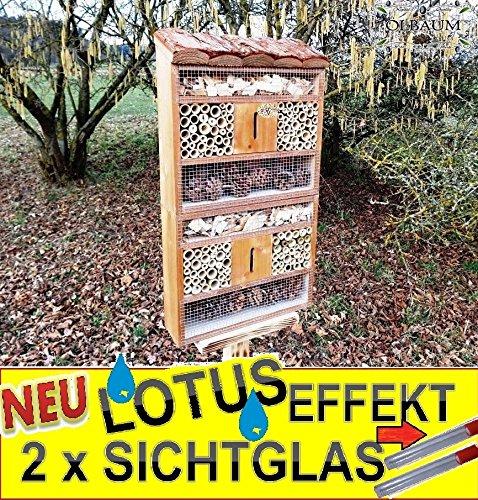 Insektenhaus dunkelbraun Teak Look mit Schmetterlingshaus braun insektenhotel - 3