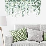 decalmile Pegatinas de Pared Hojas de Eucalipto Verde Vinilos Decorativos Plantas de Vid Colgantes Adhesivos Pared Salón Dorm