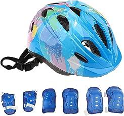 MagiDeal 7 Pieces Kid Children Safety Helmet Knee Wrist Elbow Pad Sets for Roller Skating Bike Skateboard Scooter
