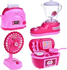 Happy GiftMart 4 in 1 Battery Operated Pink Household Home Appliances Kitchen Pretent Play Sets Toys for Girls
