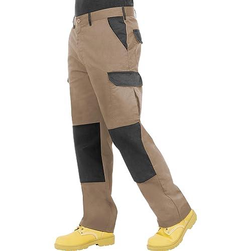 ProLuxe Pantaloni da Lavoro da Uomo, Resistenti, Modello Cargo, con Tasche Imbottite sulle Ginocchia e Cuciture rinforzate