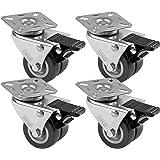 4 stuks wielen voor meubels 50 mm, wielen met rem van het merk HRB, zware wielen met max. 320 kg totale draagkracht, geschikt