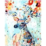 Oil Painting DIY Paint by Number Kit for Adult Rainbow Deer