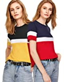 FreshTrend Women's Solid Regular Fit Half Sleeve Cotton Top and T-Shirt (Combo Pack of 2)