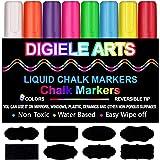 Rotuladores de Tiza Líquida, DIGIELE 8 Llamativos Colores con 32 Etiquetas Reusables, Punta Reversibles 6mm, Borrado en Paño